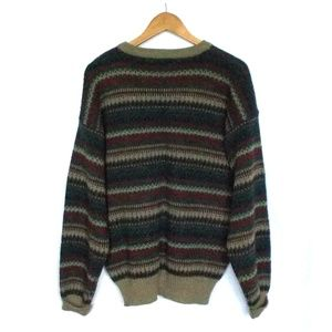 Vintage Rafael Striped Printed Grandpa Sweater